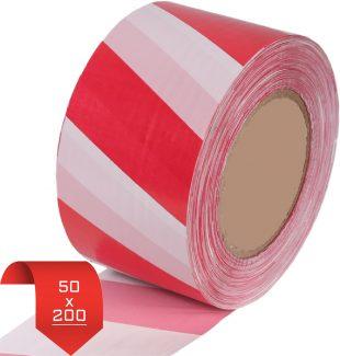 Лента оградительная 50*200 красно-белая