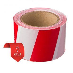 Лента оградительная 75*200 красно-белая