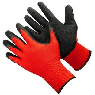 Перчатки красный нейлон с черным нитриловым обливом ЛЮКС