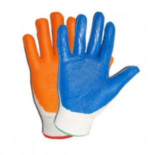 Перчатки нейлон белый с синим /оранжевым нитриловым обливом ЛЮКС
