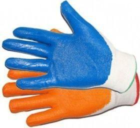 Перчатки нейлоновые с нитриловым покрытием облив синий, оранжевый