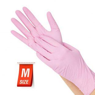 Перчатки нитриловые РОЗОВЫЕ раз.M в коробочке по 100шт