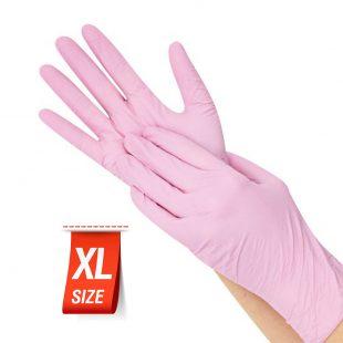 Перчатки нитриловые РОЗОВЫЕ раз.XL в коробочке по 100шт