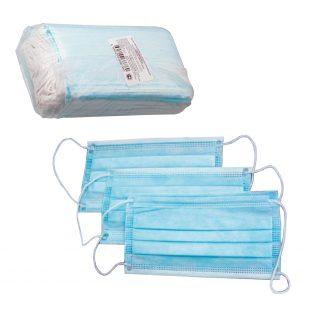 Маска для лица одноразовая голубая (50шт)в коробке