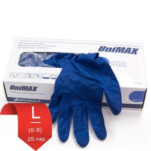 Перчатки латексные UniMax синие L (8-9) 25 пар