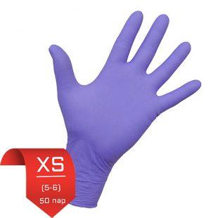 Перчатки нитриловые NitriMax Лиловые эластичные XS (5-6) 50 пар