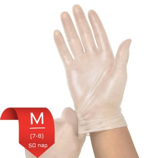 Перчатки виниловые ViniMax н/о плотные M (7-8) 50 пар