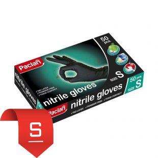NEW! Перчатки нитриловые черные Paclan (S), 50 шт.