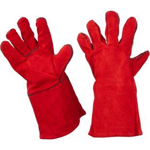 Перчатки сварщика КРАГА, спилковые (красные) ВС