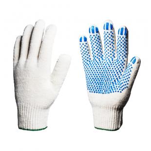 """Перчатки хлопчатобумажные с ПВХ  """"Профи"""" 10 класс (точка) 5 нитей, белые"""