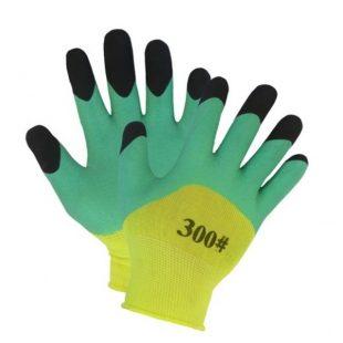 Перчатки нейлоновые со вспененным двойным латексным покрытием (желто-зеленые)