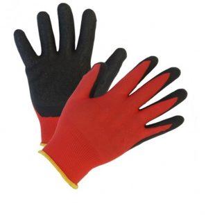 Перчатки нейлоновые с неполным нитриловым покрытием (красно-черные)