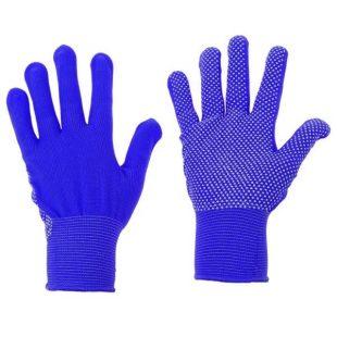 Перчатки нейлоновые с ПВХ микроточка (синие)