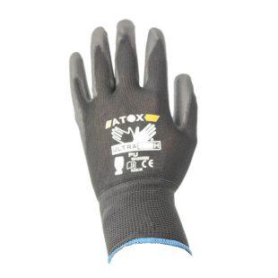 Перчатки нейлоновые с неполным полиуретановым покрытием (черные)