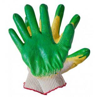 Перчатки хлопчатобумажные с двойным латексным покрытием (зеленые)