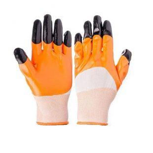 Перчатки нейлоновые с двойным неполным  нитриловым покрытием (бело-оранжевые)