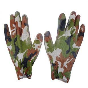Перчатки из цветного нейлона с неполным полиуритановым покрытием, садовые (хаки)