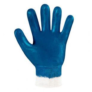Перчатки утепленные хлопчатобумажные с полным нитриловым покрытием, манжет резинка (синие)