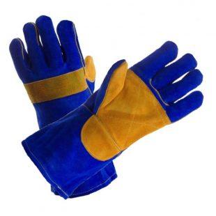 Перчатки сварщика КРАГА, спилковые (сине-желтые) типа Сапфир