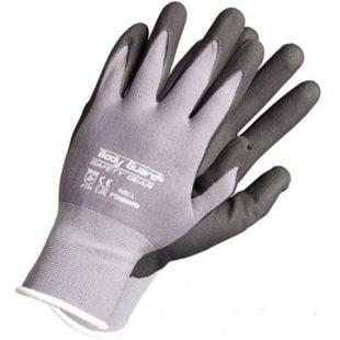 Перчатки нейлоновые с неполным полиуретановым покрытием (серые)