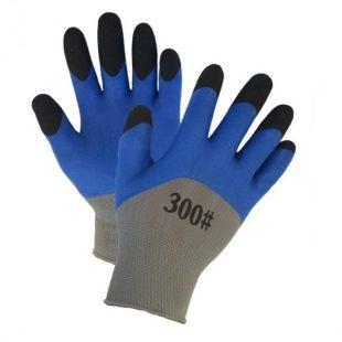 Перчатки нейлоновые со вспененным двойным латексным покрытием (синие)