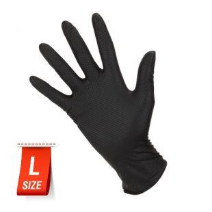 Перчатки нитриловые особопрочные HIGH RISK Ideall Grip+ Black раз.L 50 шт.