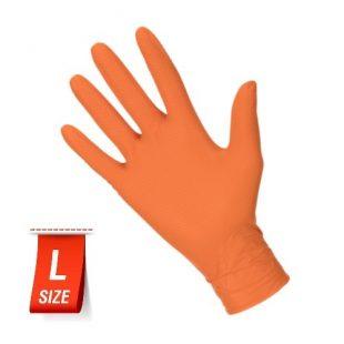 Перчатки нитриловые особопрочные HIGH RISK Ideall Grip+ Orange раз.L 50 шт.